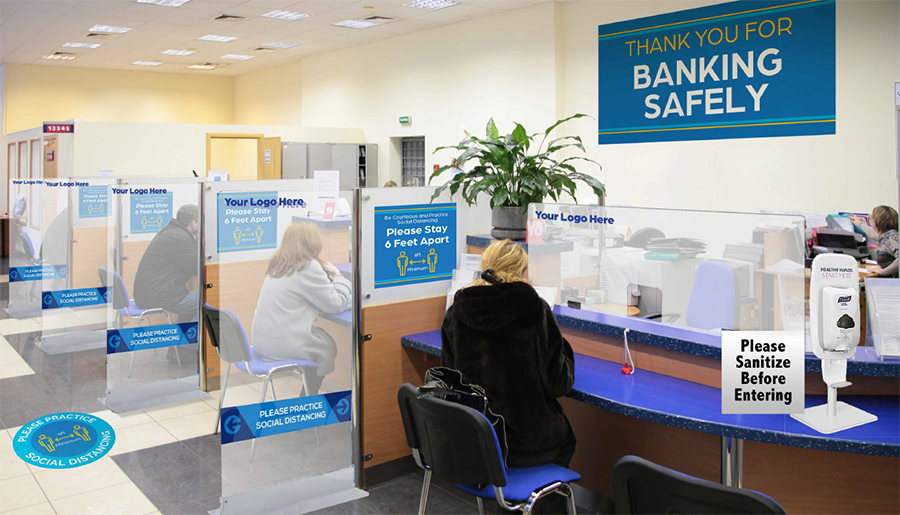 Reopening Signs for Banks Including Social Distancing and Safe Hygiene Signs