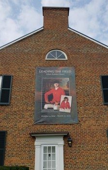 This 8 foot by 12 foot banner was created for the National Sporting Library & Museum; installed up high on their brick building.