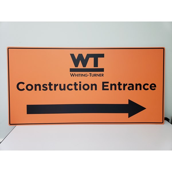 Whiting Turner needed to label their construction entrances with visible and easy to read signs. These signs were 48 x 24 aluminum.
